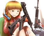 1girl assault_rifle blonde_hair braid brown_eyes cleaning didloaded gloves gun long_hair m4_carbine original rifle shadow simple_background sitting solo weapon white_background