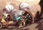 1girl armor blue_skin league_of_legends long_hair pointy_ears poppy shield tie_baihe twintails weapon white_hair yordle