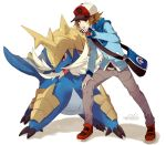 1boy bag baseball_cap brown_eyes brown_hair denim hat hoodie jeans male_focus messenger_bag pants pokedex pokemon pokemon_(creature) pokemon_(game) pokemon_bw samurott shoulder_bag touya_(pokemon) welchino