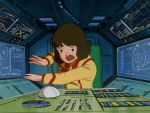 1girl 80s animated animated_gif black_eyes bob_cut brown_hair buttons cable chair choujikuu_yousai_macross cockpit lowres macross mecha military military_uniform oldschool panapp scared science_fiction screen sdf-1 space_craft spacecraft_interior trackball traditional_media u.n._spacy uniform worried