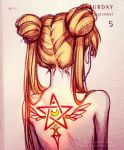 1girl bishoujo_senshi_sailor_moon blonde_hair double_bun from_behind hair_over_shoulder long_hair nude portrait qinni solo tattoo traditional_media tsukino_usagi twintails