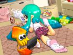 1girl a&w amiibo aqua_hair cameo commentary_request doubutsu_no_mori feet food game_console grey_eyes handheld_game_console inkling kirby kirby_(series) long_hair looking_back lying mask nintendo nintendo_3ds on_stomach playing_games root_beer skirt socks soda splatoon squid super_smash_bros. super_soaker sweatdrop tanukino tentacle_hair tentacles toes violet_eyes water_gun weapon wii_u