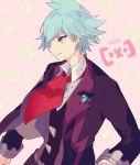 1boy aqua_eyes aqua_hair beldum brooch cravat jewelry looking_to_the_side male_focus pink_background pokemon pokemon_(creature) pokemon_(game) pokemon_oras profile smile solo tsuwabuki_daigo welchino