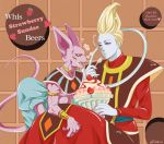2boys armband artist_name beerus blonde_hair blue_skin character_name choker claws dragon_ball dragon_ball_z egyptian_clothes food fruit ice_cream jewelry multiple_boys nail_polish purple_nails purple_skin raku220p robe signature single_earring spoon spoon_in_mouth strawberry sundae tail violet_eyes whipped_cream whis wristband yellow_sclera