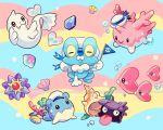 bubble coral corsola dewgong flag hat luvdisc multicolored_background no_humans pokemon pokemon_(creature) sailor_hat seashell seaweed shell shellder spheal staryu welchino