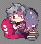 alcohol artist_name bat bean_bag_chair book_stack checkered checkered_background crescent_moon cup dio_brando earrings grey_hair heart jewelry jojo_no_kimyou_na_bouken kotorai moon pointy_shoes shoes signature sparkle violet_eyes wine wine_glass wrist_cuffs