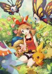 1girl basket beautifly berries bike_shorts blue_eyes brown_hair bush flower hair_ribbon haruka_(pokemon) haruka_(pokemon)_(remake) kneeling masquerain pecha_berry petals pokemon pokemon_(creature) pokemon_(game) pokemon_oras ribbon shroomish solo torchic watering_can welchino