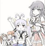 4girls antenna_hair arm_up blue_hair character_request cosplay haruna_(kantai_collection) haruna_(kantai_collection)_(cosplay) ichijou_hotaru kantai_collection koshigaya_komari koshigaya_natsumi looking_at_viewer miyauchi_renge multiple_girls navel non_non_biyori ryuujou_(kantai_collection) ryuujou_(kantai_collection)_(cosplay) shimakaze_(kantai_collection) shimakaze_(kantai_collection)_(cosplay) triangle_mouth twintails y.ssanoha