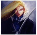 blonde_hair blue_eyes fullmetal_alchemist hair_over_one_eye highres lips long_hair mari_lovecraft military military_uniform olivier_mira_armstrong sword uniform weapon