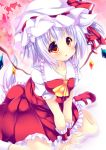 1girl animal_ears ascot dress flandre_scarlet flandre_scarlet_(cosplay) hair_ribbon hat hat_ribbon hikanyan inubashiri_momiji lowres mob_cap puffy_short_sleeves puffy_sleeves red_dress ribbon shirt short_sleeves side_ponytail silver_hair sitting solo tail touhou v_arms wariza wings wolf_ears wolf_tail wrist_cuffs yellow_eyes