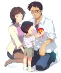1girl 2boys brown_hair child family glasses ikari_gendou ikari_shinji ikari_yui matsuki_ringo multiple_boys neon_genesis_evangelion short_hair smile younger