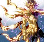 1boy armor cancer_deathmask full_armor purple_hair saint_seiya saint_seiya:_soul_of_gold short_hair solo ume2888 violet_eyes