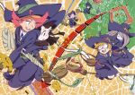 6+girls absurdres akko_kagari amanda_o'neill blonde_hair broom brown_eyes brown_hair character_request constanze_albrechtsburger glasses green_eyes hair_over_one_eye hat highres jasminka_anoneko little_witch_academia looking_back lotte_yanson multiple_girls official_art open_mouth pink_hair socks sucy_manbabalan witch_hat