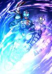 2boys antennae armor belt blue_eyes fusion ghost glowing helmet kamen_rider kamen_rider_chaser kamen_rider_drive_(series) kamen_rider_mach kicking male mask multiple_boys orange_eyes rider_kick scarf spoilers tire yusuki_(fukumen)