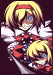 alice_margatroid blonde_hair blue_eyes crazy_eyes doll evil_grin evil_smile grin hairband kotepo lance multiple_girls polearm rape_face shanghai shanghai_doll short_hair slit_pupils smile touhou weapon