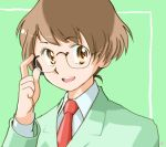 androgynous brown_eyes brown_hair ebi-rom formal glasses idolmaster idolmaster_dearly_stars idolmaster_ds male necktie short_hair smile suit