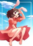barefoot brown_hair bunny_ears carrot feet hakuchi hands inaba_tewi jewelry pendant rabbit_ears red_eyes short_hair solo touhou