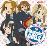 akiyama_mio album album_cover bangs black_eyes black_hair blonde_hair blue_eyes blunt_bangs brown_eyes brown_hair cover guitar hairband highres hime_cut hirasawa_yui instrument k-on! kotobuki_tsumugi les_paul long_hair multiple_girls official_art pantyhose pencil school_uniform short_hair tainaka_ritsu teapot wooden_pencil