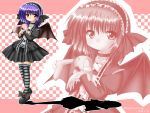 frills gothic_lolita hairband kagura_chitose lolita_fashion purple_hair red_eyes remilia_scarlet short_hair solo striped striped_legwear striped_thighhighs stuffed_animal stuffed_toy thigh-highs thighhighs touhou wings zettai_ryouiki