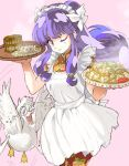 bun china_dress chinadress chinese_clothes double_bun duck earrings food headdress jewelry jiaozi long_hair mito_tomiko mousse purple_hair ranma_1/2 red_eyes shampoo_(ranma_1/2) smile steam tears tray wink