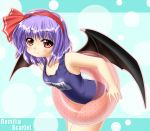fang hairband innertube kagura_chitose one-piece_swimsuit purple_hair red_eyes remilia_scarlet school_swimsuit short_hair swimsuit touhou wings