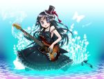 "1girl akiyama_mio bass_guitar black_hair blue_eyes blue_legwear butterfly don't_say_""lazy"" don't_say_lazy dress fingerless_gloves gloves guitar hat high_heels instrument k-on! long_hair mini_top_hat nail_polish pantyhose shoes solo striped top_hat usaki"