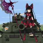 1girl commentary_request electro gate_-_jieitai_ka_no_chi_nite_kaku_tatakaeri gothic_lolita halberd lolita_fashion military military_vehicle polearm rory_mercury solo tank type_74 vehicle weapon