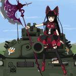 1girl commentary_request electro gate_-_jieitai_ka_no_chi_nite_kaku_tatakaeri gothic_lolita halberd lolita_fashion military military_vehicle polearm rory_mercury solo tank type_74 vehicle weapon