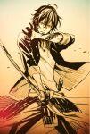 1boy black_gloves dog_tags gloves katana male_focus monochrome ookurikara scan sword tattoo toboso_yana touken_ranbu weapon