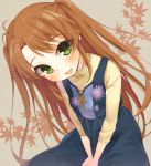 1girl :d antenna_hair blush brown_hair fang flower from_above green_eyes hym9594 koshigaya_komari leaf long_hair long_sleeves looking_at_viewer non_non_biyori open_mouth sitting smile solo