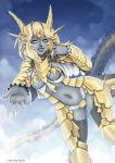 1girl barbariank blonde_hair blue_sky breasts center_opening circlet dragon_girl dragon_horns dragon_tail grey_skin hair_twirling highres horns lips looking_at_viewer navel nose original outstretched_hand scales sky smile solo tail thigh-highs yellow_eyes
