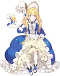 1girl :3 ballet_slippers bangs black_shoes blonde_hair blue_dress bonnet bow bowtie brooch cosplay_pikachu dress flower frilled_dress frills full_body gem gloves grey_eyes hair_flower hair_ornament jewelry layered_dress lolita_fashion long_hair long_sleeves looking_at_viewer multicolored_dress personification pikachu piyo_(ppotatto) pokemon pokemon_(creature) pokemon_(game) pokemon_oras shoe_ribbon shoes simple_background skirt_hold slim_legs smile standing thigh-highs twintails white_background white_bow white_dress white_gloves