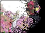 1boy 1girl anklet barefoot den_776 detached_arm diancie dress earrings facial_mark flower forehead_mark green_eyes helmet honedge hoopa horns jewelry personification pink_dress pink_hair pokemon red_eyes rose seviper sword weapon