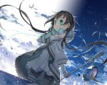 1girl aqua_eyes black_hair clouds dress fred04142 garter hand_on_headphones headphones headphones_around_neck hood hood_down leg_garter long_hair long_sleeves low_twintails microphone microphone_stand sky solo sparkles twintails utau very_long_hair water white_dress xia_yu_yao