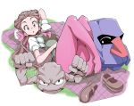 1girl :o ^_^ blanket blush breasts brown_hair closed_eyes creature crossed_legs dress forehead geodude grass long_hair looking_at_viewer lying nisego nosepass on_back pantyhose pink_eyes pink_legwear pokemon pokemon_(creature) pokemon_(game) pokemon_oras puffy_sleeves raised_eyebrows shiny shiny_clothes shiny_hair shiny_skin shoes_removed tsutsuji_(pokemon) twintails