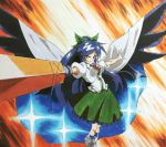 1girl anime_coloring arm_cannon bird_wings black_hair black_wings bow cape foreshortening hair_bow long_hair marker_(medium) millipen_(medium) outstretched_arms ponytail reiuji_utsuho shiratama_(hockey) shirt skirt solo space third_eye touhou traditional_media very_long_hair weapon wings
