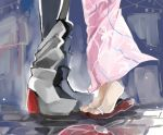 2girls brick_floor fan implied_kiss jintsuu_(kantai_collection) kantai_collection multiple_girls nagihashi_koko no_socks sandals sendai_(kantai_collection) sketch tabi tiptoes yuri