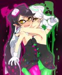 +_+ 2girls @_@ aori_(splatoon) black_dress black_hair blush breast_press breasts brown_eyes cowboy_shot detached_collar dress earrings food food_on_head from_side full-face_blush gloves green_legwear hotaru_(splatoon) hug i_b_b_e jewelry leg_between_thighs long_hair looking_at_viewer mask multiple_girls object_on_head open_mouth paint_splatter pantyhose pointy_ears purple_legwear short_hair sideboob smile splatoon squid standing strapless_dress symmetrical_docking white_gloves white_hair yuri