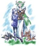 2girls angel_wings animalization artist_name bangs blue_eyes blue_hair blush boots breasts cleavage closed_eyes dark_pit dog fire_emblem fire_emblem:_kakusei green_hair kid_icarus long_hair lucina mahoxyshoujo multiple_girls open_mouth palutena pit_(kid_icarus) sidelocks sketch super_smash_bros. sweater very_long_hair wings