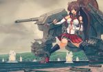 1girl brown_eyes brown_hair detached_sleeves flower giantess hair_flower hair_ornament headgear highres kantai_collection long_hair mecha_musume oriental_umbrella panties pantyshot ponytail seo_tatsuya skirt solo standing standing_on_water thigh-highs turret umbrella underwear very_long_hair yamato_(kantai_collection)