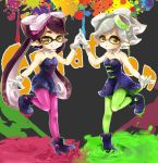 +_+ 2girls absurdres aori_(splatoon) black_dress black_hair brown_eyes detached_collar dress earrings fangs food food_on_head gloves green_legwear grin highres holding_hands hotaru_(splatoon) jewelry leg_up long_hair looking_at_viewer mask multiple_girls object_on_head paint_splatter pantyhose pink_legwear pointy_ears pose shinotarou_(nagunaguex) shoes smile splatoon standing strapless_dress white_gloves white_hair