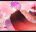 1boy blue_eyes flower japanese_clothes kasen_kanesada katana letterboxed male_focus mizuhara_aki purple_hair sheath sheathed solo sword touken_ranbu weapon