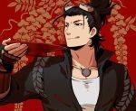 1boy :q armor black_hair goggles goggles_on_head japanese_armor kote licking_lips male_focus mizuhara_aki nihongou red_background sakazuki solo tongue tongue_out touken_ranbu upper_body