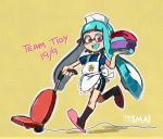 1girl apron artist_name bike_shorts blue_hair dated inkling maid_apron pink_eyes sami_(artist) slippers smile socks solo splatoon t-shirt tentacle_hair vacuum_cleaner