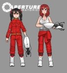 2girls anyan_(jooho) aperture_laboratories aperture_science_advanced_knee_replacement aperture_science_handheld_portal_device black_hair boots chell_(cosplay) clothes_around_waist crossover expressionless frown grey_background gun highres jacket_around_waist jumpsuit long_hair looking_ahead love_live!_school_idol_project multiple_girls nishikino_maki portal portal_2 red_eyes redhead short_hair tank_top twintails violet_eyes weapon yazawa_nico