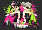 +_+ 2girls aori_(splatoon) black_dress black_hair blush brown_eyes c.jam-packed commentary_request copyright_name crossed_legs detached_collar dress earrings english fangs food food_on_head gloves green_legwear grey_hair hand_on_own_knee hotaru_(splatoon) jewelry long_hair looking_at_another multiple_girls object_on_head paint_splatter pantyhose pointy_ears purple_legwear shoes short_dress short_hair short_jumpsuit sitting smile splatoon strapless strapless_dress tentacle_hair white_gloves