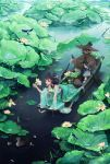 1boy 1girl all_fours artist_name bird black_hair boat coney crab dress duck fish flower green_dress green_eyes highres holding jewelry lily_pad necklace oar open_mouth original outdoors ripples signature sitting tagme water