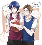 1boy 1girl basketball blue_hair brown_hair english gekkan_shoujo_nozaki-kun green_eyes height_difference hori_masayuki kashima_yuu reverse_trap short_hair sportswear warable