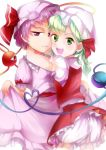 2girls bloomers dress eyeball flandre_scarlet flandre_scarlet_(cosplay) green_eyes green_hair hair_ornament hair_ribbon hat hat_ribbon heart heart_of_string highres hug komeiji_koishi komeiji_satori looking_at_viewer mob_cap multiple_girls open_mouth puffy_sleeves purple_hair remilia_scarlet remilia_scarlet_(cosplay) ribbon sash shirt short_hair short_sleeves siblings side_ponytail simple_background sisters skirt skirt_lift skirt_set smile string syoudensatoko third_eye touhou underwear vest violet_eyes white_background