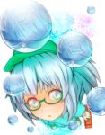 1girl :o aqua_hair backpack bag bespectacled blue_eyes blue_hair boots bubble engineer from_above glasses green-framed_glasses green_boots hair_bobbles hair_ornament hat highres kawashiro_nitori looking_at_viewer machi_no_dakashiya open_mouth puffy_short_sleeves puffy_sleeves reflection semi-rimless_glasses short_sleeves simple_background smile solo toolbox touhou two_side_up under-rim_glasses water_droplets